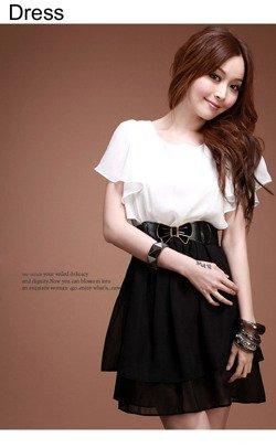 Biało-czarna sukienka Japan Style S2768