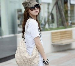 Biała, pleciona torebka damska Japan Style TO2266